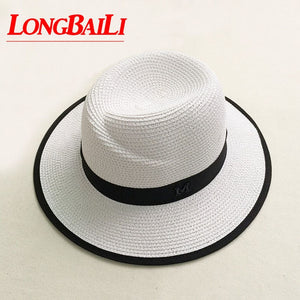 97b3264de5c23 Summer Wide Brim White Straw Fedora Hats For Women Fashion Sun Beach Hats  Free Shipping SDDS030