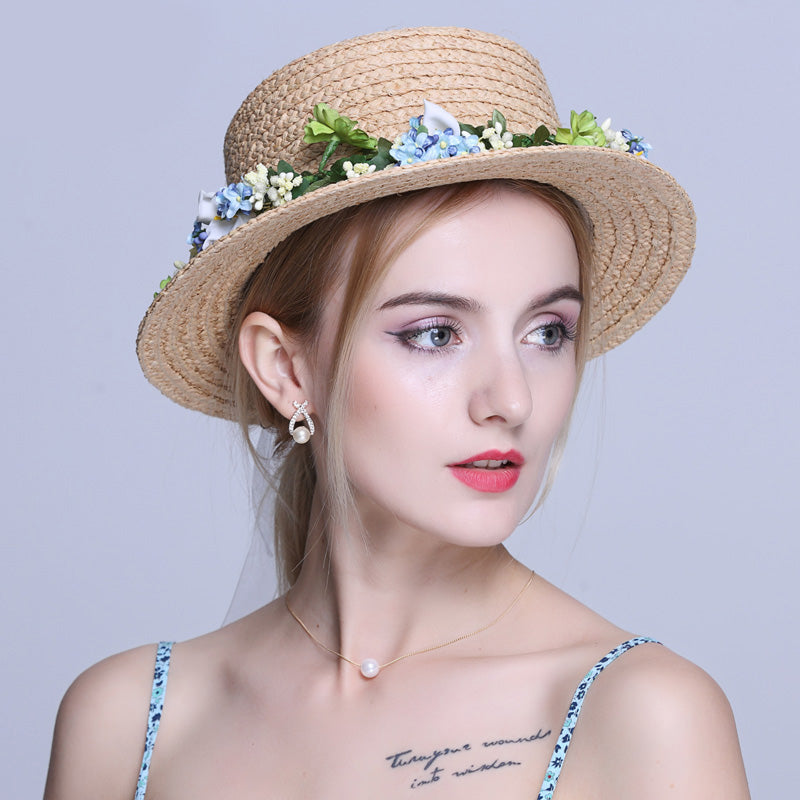 Summer Women Toquilla Straw chapeu Boater Beach Sun hat For Elegant Lady Queen Flower Round Flat PorkPie Top Fedora Hat