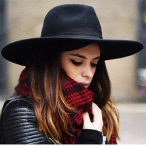 Wide Brim Fedora Hat  Women Like Europe Style Wo Felt Bowler  Hats  late Fashion Large Hat Cap Play Party Hat