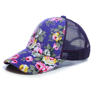 Sunscreen Rose Floral Print Baseball Cap For Women Men Sport Mesh Caps Breathable Casual Golf Hats Snapback Hat
