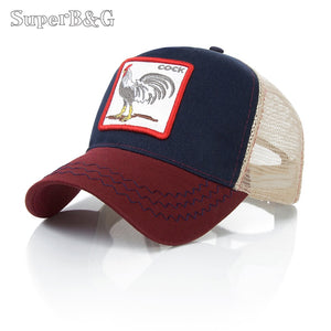 SuperB&G Brand Design Women Men Baseball Cap Summer Mesh Breathable Caps Unisex Embroidery Animal Hip Hop Snapback Hat Bone