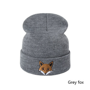 SuperB&G New Arrival Autu Winter Hat Women Men Knitting Cot Skullies Beanies Hats Unisex Print Cat Fox Hedging Cap Gorros