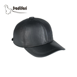 2020 New Fashion Casual Real Cow Leather Baseball Cap Black Brown 2 Color Warm Winter Dad Mom Gift Hat For Men Women
