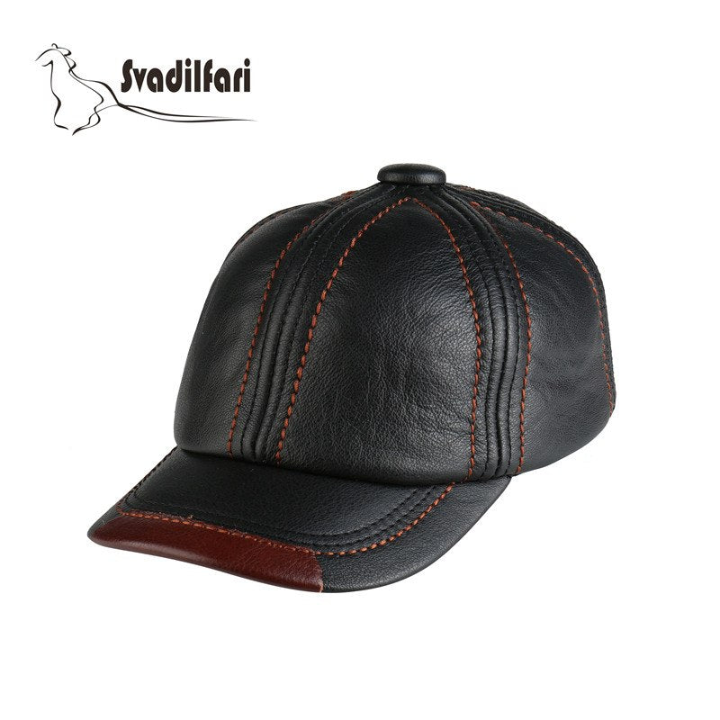 Winter 2020 Fashion Real Leather Cap For Men Women Adjustable Size High Quality Cowhide Hat Casual Brown Black Coffee