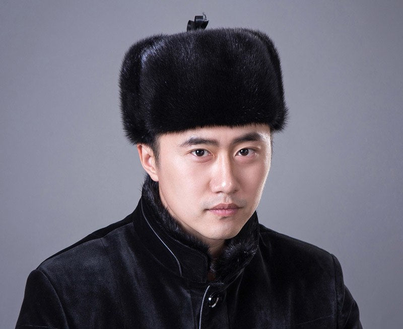 Winter Genuine Men Mink fur hat new 2017 hot top russia bomber hat Black/Brown colors multi size fit all warm caps