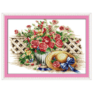 Sweet Flower Hat Patterns Counted Cross Stitch 11CT 14CT Cross Stitch Sets Chinese Cross-stitch Kits Embroidery Needlework