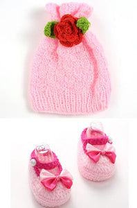 Sweet lovely baby girls handmade crochet knitting pink bowknot crib shoes + candy hat photography props set 11cm