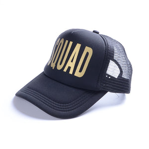 T BRIDE SQUAD Woman Snapback Caps Hip Hop Branded Baseball Mesh Cap Wedding Party Man Adjustable Golden Letter Pink Colors