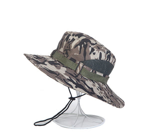 e2ebc32a832e7 Tactical US Army Camouflage Bucket Hat Men Camo Wide-brim Snapback Boonie  Hat Summer Breathable Sniper Soldier Paintball Cap Hat