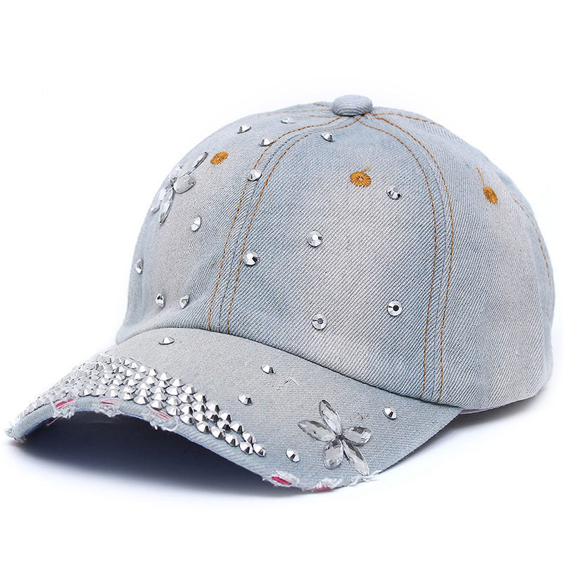 The mo Fashion Rhinestone Baseball Caps Adjustable Women Diamond Flowers Baseball Hats Summer Style Lady Jeans Hat
