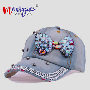 The new joker lady bowknot set auger cowboy baseball cap women outdoor sports shopping and tourism hat personality Hip hop