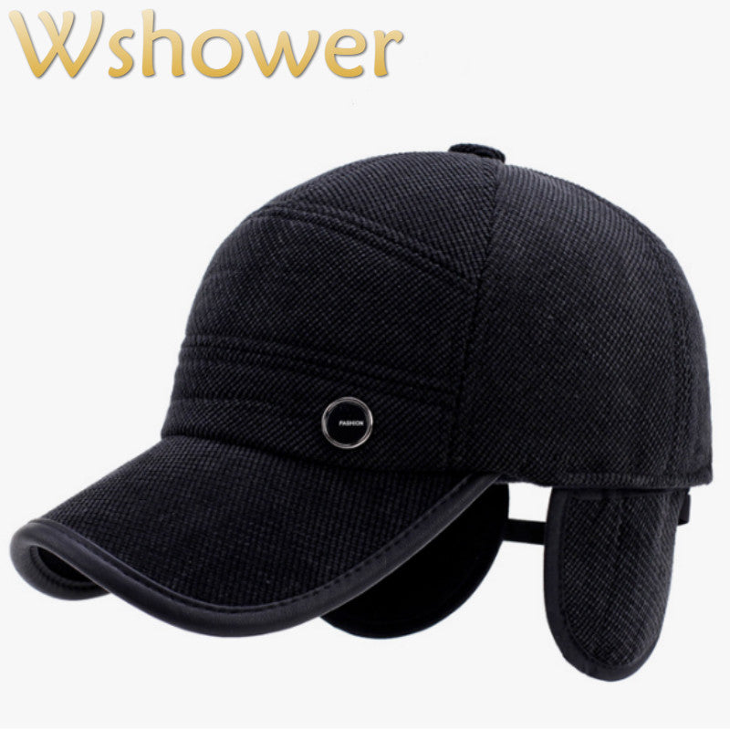 05fe0d5071eaa Thickened Warm Earflap Winter Baseball Cap For Men Outdoor Windproof Ear  Flap Ski Cap Male Snapback Hat Retro Trucker Hat Bone