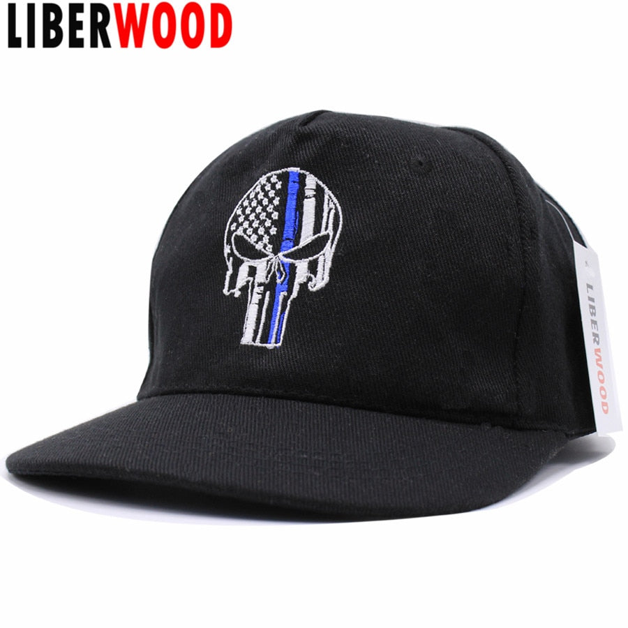 Thin Blue Line Punisher Skull Fit Ball Cap hat Police Law Enforcement U flag tactical SWAT baseball cap Trucker hat Punisher