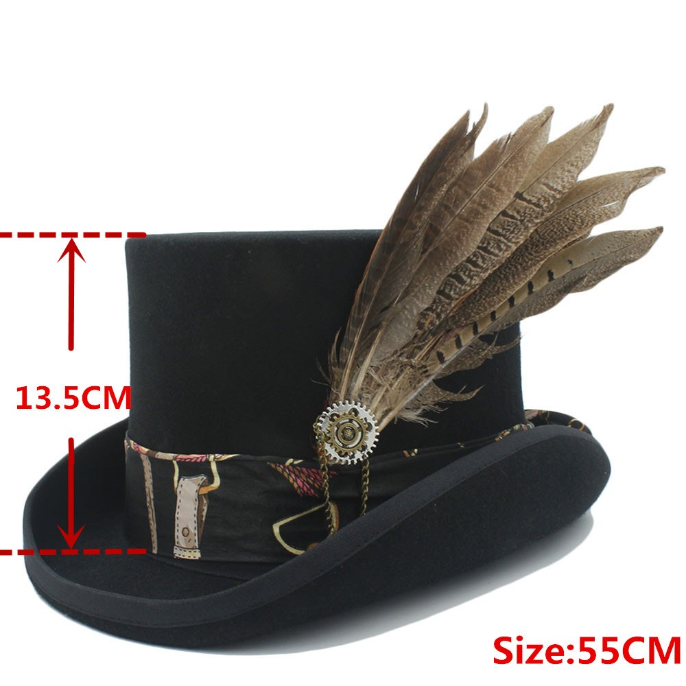 Top 13.5CM Black Fedora Hat Wo Women Men Steampunk Top Hat Handwork Leather Magic Cosplay Party Cylinder Hat Caps Dropshipping