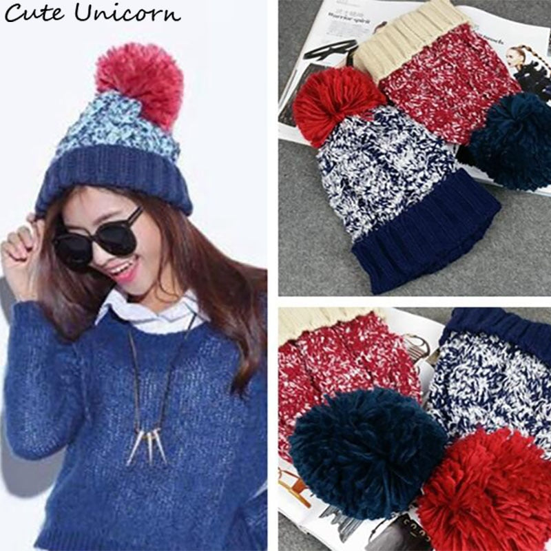 bb2c4354968 Top Fashion Soft Beanie Warm Knitted Hats ladies hats women men ball Hat  Baby accessory cute female Winter Caps