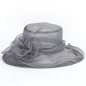 Transparent Flower Hats For Women Dress Church Wedding Kentucky Derby Wide Brim Foldable Sun Hat Sun Protect Beach Cap