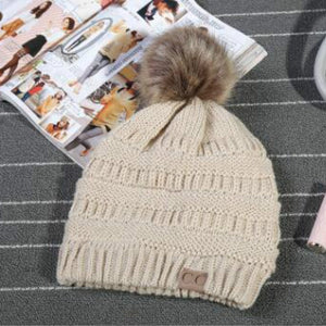 Trendy Fur Pom Pom C.C. Ribbed Beanie Women's Confetti Chunky Stretch Cable Knit Cc Beanie Hat Skully Winter Hats for Women