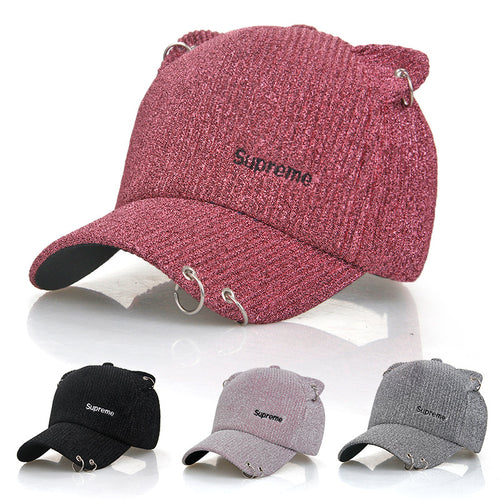Trendy Women Sun Hat Cute Cat Ears Baseball Cap Casual Adjust Protection Caps