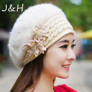 f6fda1ef3e5 Trendy Women Winter Rabbit Fur Hat Flowers Caps Lady Headgear Warm Beanies  Hats Fleece Inside Knitted