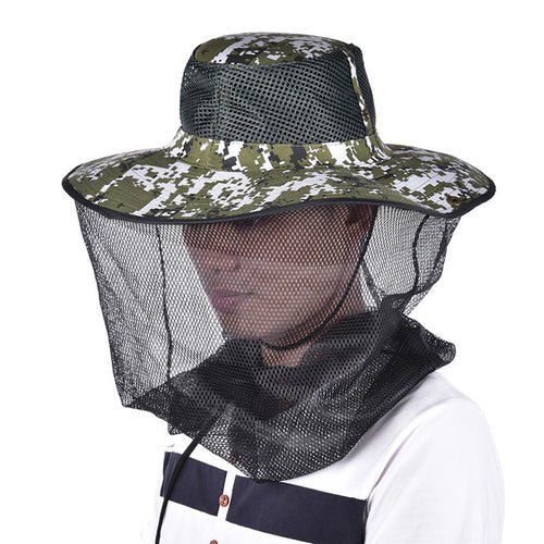 Tropic Hats Wide Brim Camouflage Mosquito Net Outdoor Fishing Bee Flying Insects Prevention Cap Bucket Hat UV Protection