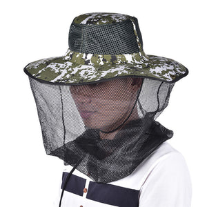 58360dc9165 Tropic Hats Wide Brim Camouflage Mosquito Net Outdoor Fishing Bee Flying  Insects Prevention Cap Bucket Hat UV Protection