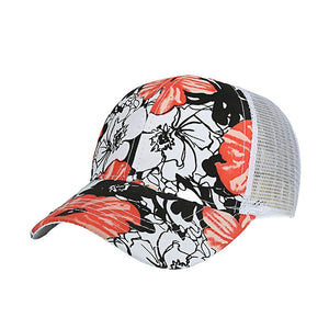 Trucker Hat Women Men Adjustable Colorful Flower print Baseball Hat Mesh Cap Casquette Homme