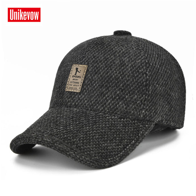 New arrivel Sport winter baseball caps with ears Casual winter hat  warm caps for men golf hat