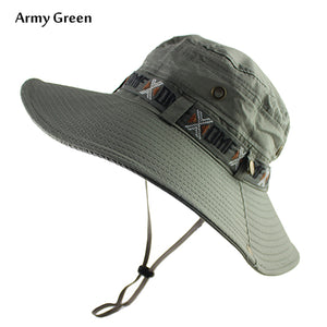 c5a2fe8d UPF 50+ Bucket Hat Summer Men Women Boonie Hat Outdoor UV Protection Wide  Brim Military Army Hiking Fishing Tactical Sun Hat Cap