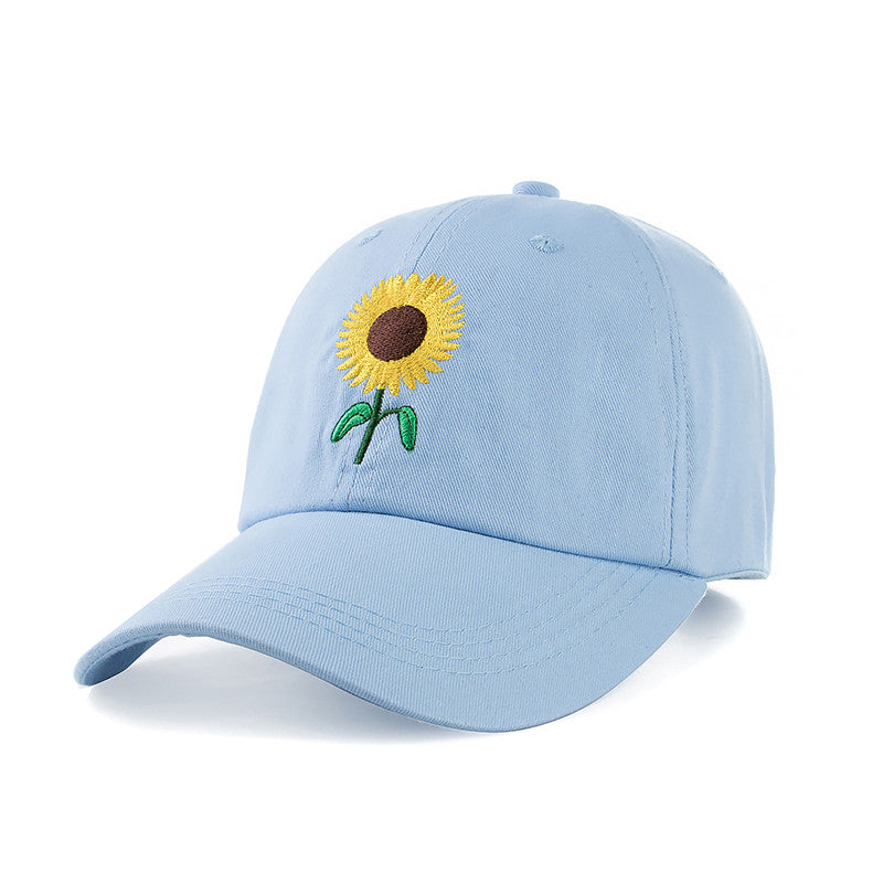 [URGENTMAN]New Fashion Sunflower Embroidery Baseball Caps Cotton Snapback Hats Caps For Men Women Adjustable Couple Cap