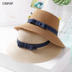 ae17f02a 2018 Brand New fashion woman sun hats female wide brim cute bowknot straw  hat casual women