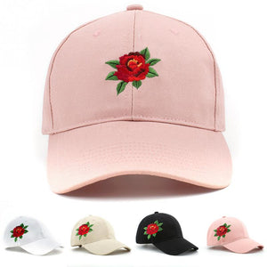 Unique fashionable 2 Types rose Embroidered Baseball Cap Adult Adjustable Outdoor Casual women Canvas Hats