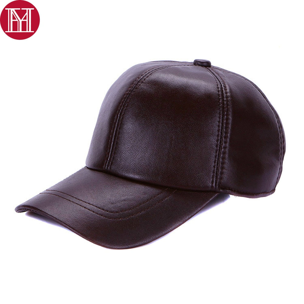Unisex 100% Genuine Real Leather Baseball Caps Women men Winter Real Leather  Hats Casual Real Sheepskin Leather Snapback Cap d5f69ce0042