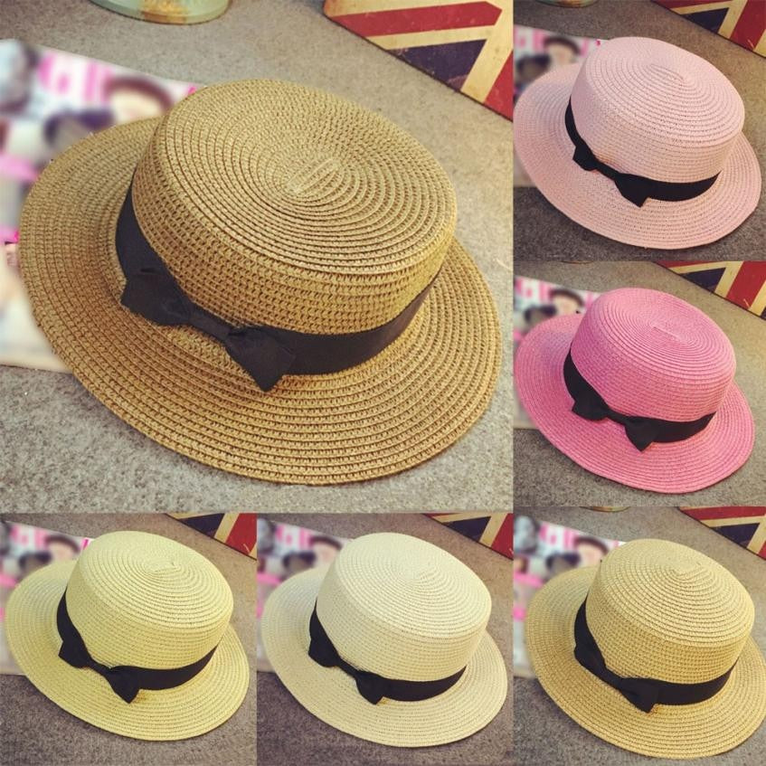 5f6a6efdd Unisex Boater Sun Cap Ribbon Round Flat Top Straw Beach Bow Tie Band Sunhat  Panama Hat Summer hats For Women Hat Trilby Gangster