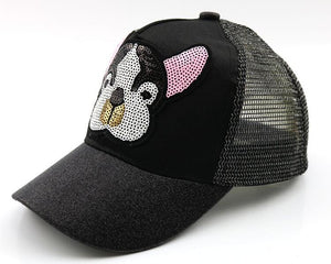 Unisex Child Mesh Patchwork golf Baseball Cap Sequins Dog Design Adjustable Snapback Baseball ball Hat Kid chapeau Caps