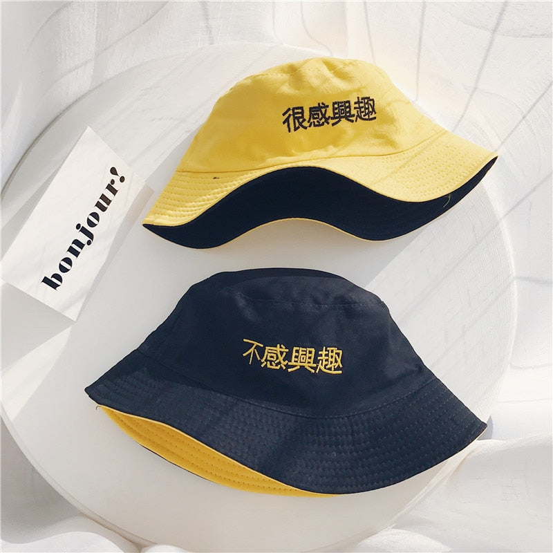 Unisex Harajuku Bucket Hat Two Side Black Yellow Fishing Outdoor Sunhats Chinese Letter Summer For Fisherman Hat Women 2018 New