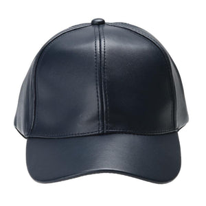 Unisex Men Women PU Leather Baseball Cap Snapback Outdoor Sport Adjustable Fashionable Hat Red/khaki/black/pink/navy blue/brown