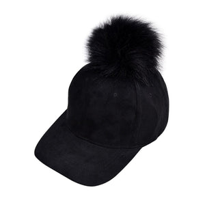 Unisex Suede Baseball Hat Women Men Faux Buckskin Pom Pom Ball Adjustable Baseball Cap Candy Color Winter Autumn Suede Hats