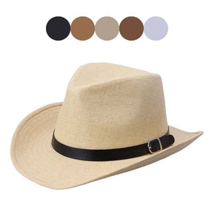 Unisex Summer Casual Trendy Beach Sun Straw Panama Jazz Hat Men Straw Hat Cowboy Hat Gangster Cap Fit For Women Men