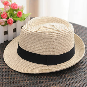 Unisex Women Men Fashion Casual Trendy Beach Sun Straw Panama Jazz Hat Cowboy Fedora hat Gangster Cap women's hats men hats