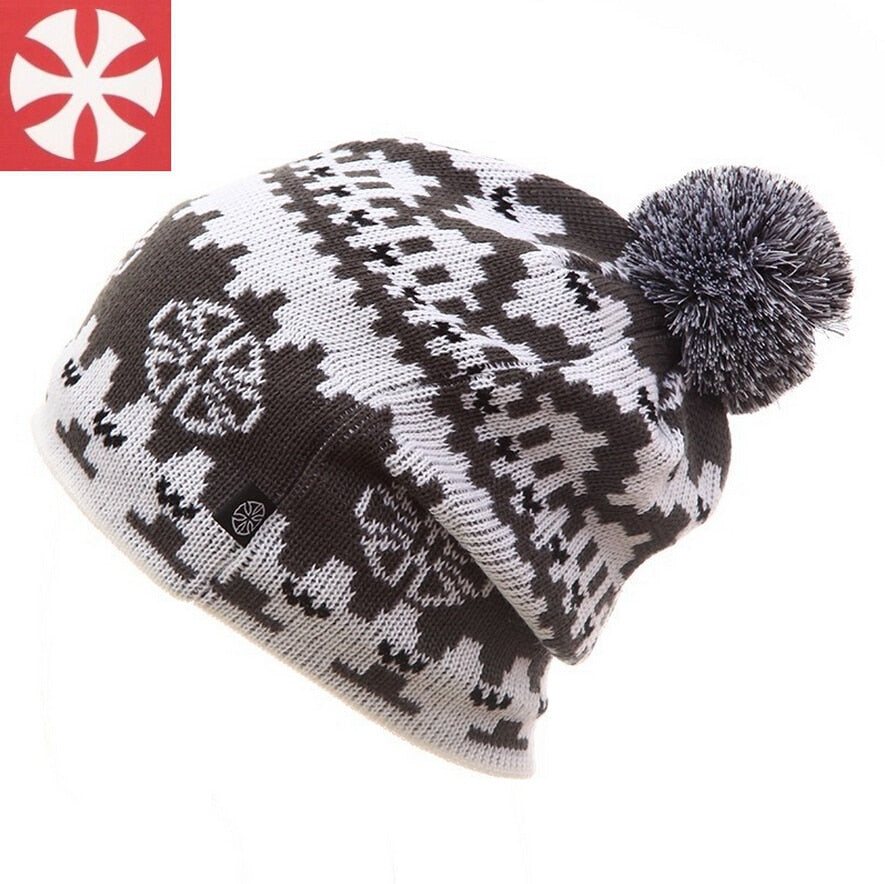 Unisex famous brand warm winter knitted knitting hat for men and women skullies and beanies Ski cap free shipping