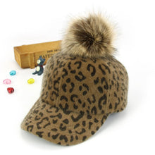 Load image into Gallery viewer, Unisex fashion Leopard Printed pompom Baseball Ball Hats Child Kid Adjustable Winter Warm Golf Baseball Cap MZ5355