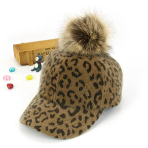Unisex fashion Leopard Printed pompom Baseball Ball Hats Child Kid Adjustable Winter Warm Golf Baseball Cap MZ5355