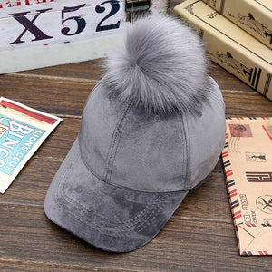 Unisex velvet Baseball Hat Women Men Faux Buckskin Pom Pom Ball Adjustable Baseball Cap Candy Color Winter Autumn Suede hip hop