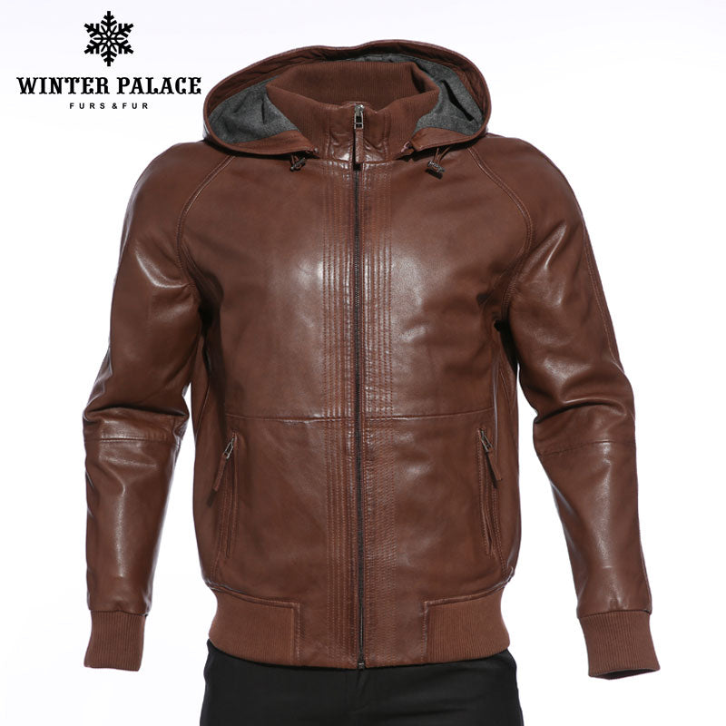 Upscale Fashion new products leather jacket Genuine Leather Hooded leather jacket men Dark brown mens leather jackets and coats