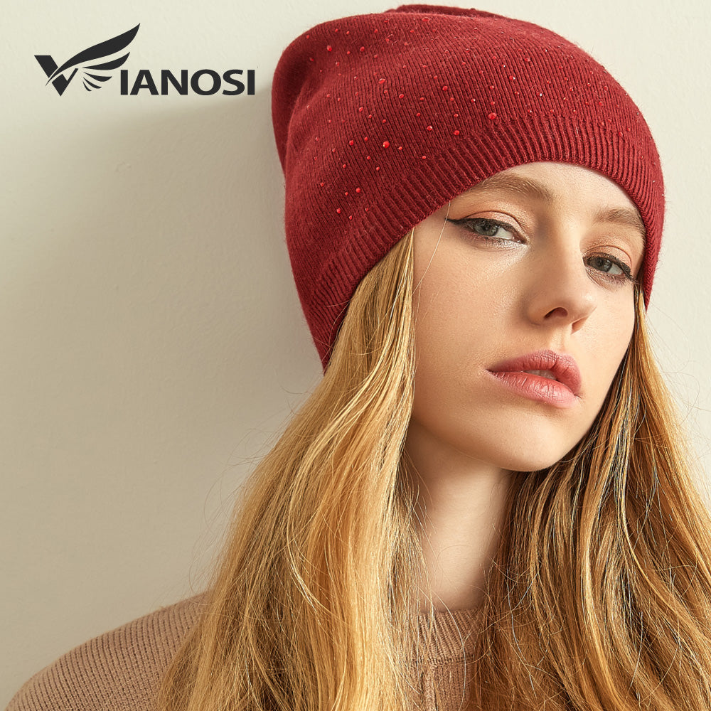 f156e0c3ab16 Cashmere Knitted Winter Hat Women Thick Female Beanies Warm Cap Rhinestone  Wo Hats for Women