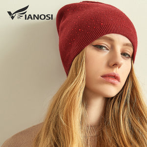 Cashmere Knitted Winter Hat Women Thick Female Beanies Warm Cap Rhinestone  Wo Hats for Women 1939eaeeeda
