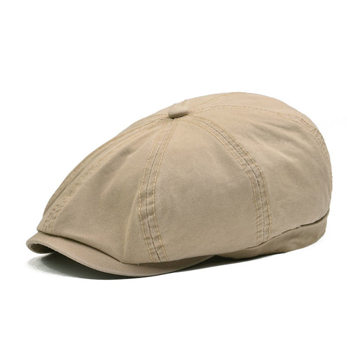 8 Panel Newsboy Caps Men Women Ivy Flat Cap Male Female Khaki Twill Washed Cot Berets Classic Boina Hat 145