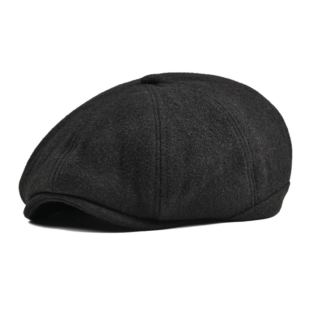 fb0cd96a2 Black Tweed Woolen Newsboy Cap Men Women 8 Panel Country Baker Boy Ivy Flat  Cap Cabbie Beret Hats Retro Boina 111
