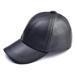 Genuine Leather Baseball Cap For Man Male Winter Classic Thermal Brand New Black/Brown Gorras Dad Fashion MY009