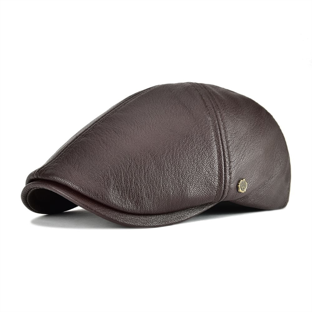 Genuine Real Leather Flat Cap 6 Panel Design Cabbie Beret Hat for ... 276a7f4405a